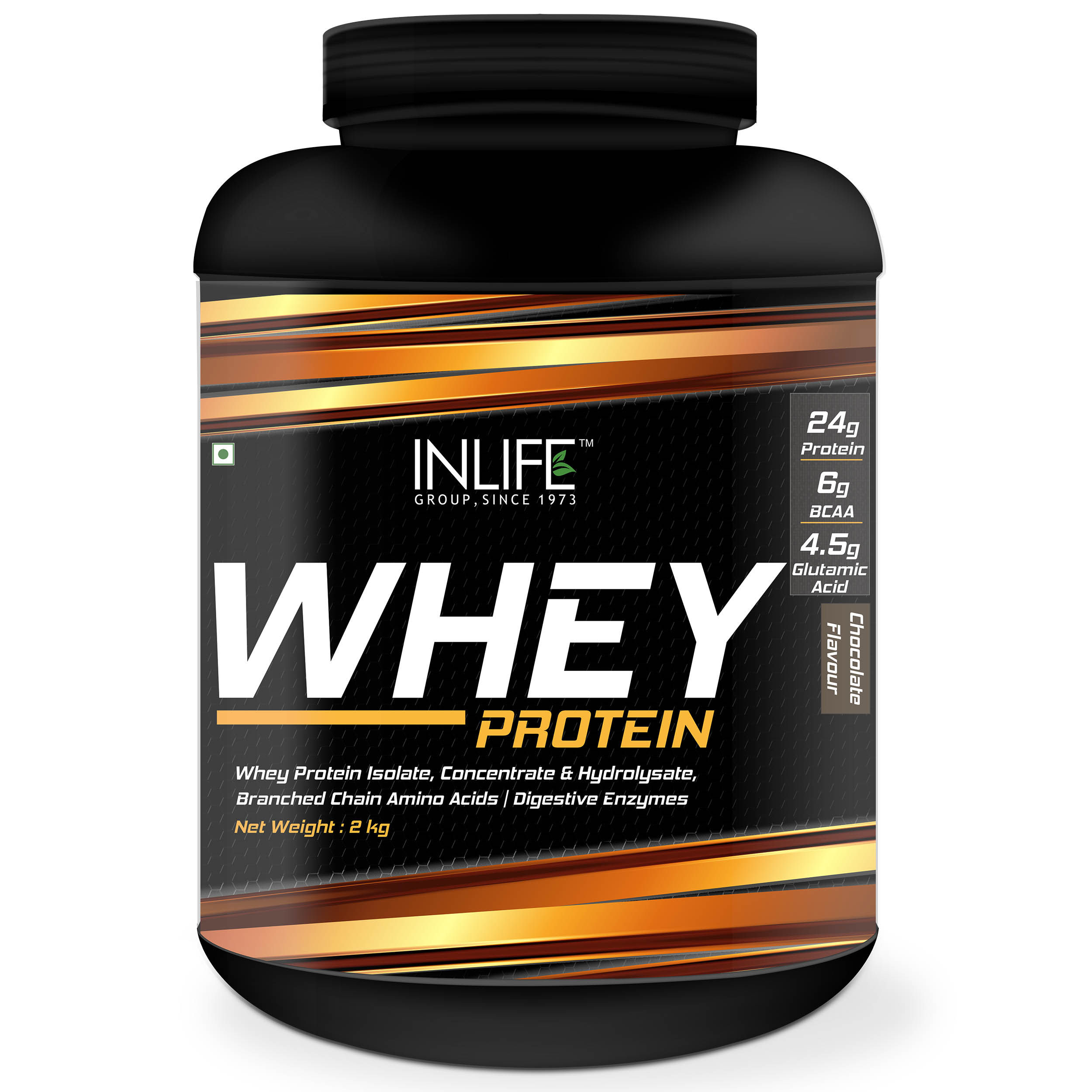 INLIFE Whey Protein Powder Blend Of Isolate Hydrolysate Concentrate Body Building Supplement Chocolate Flavour 2Kg