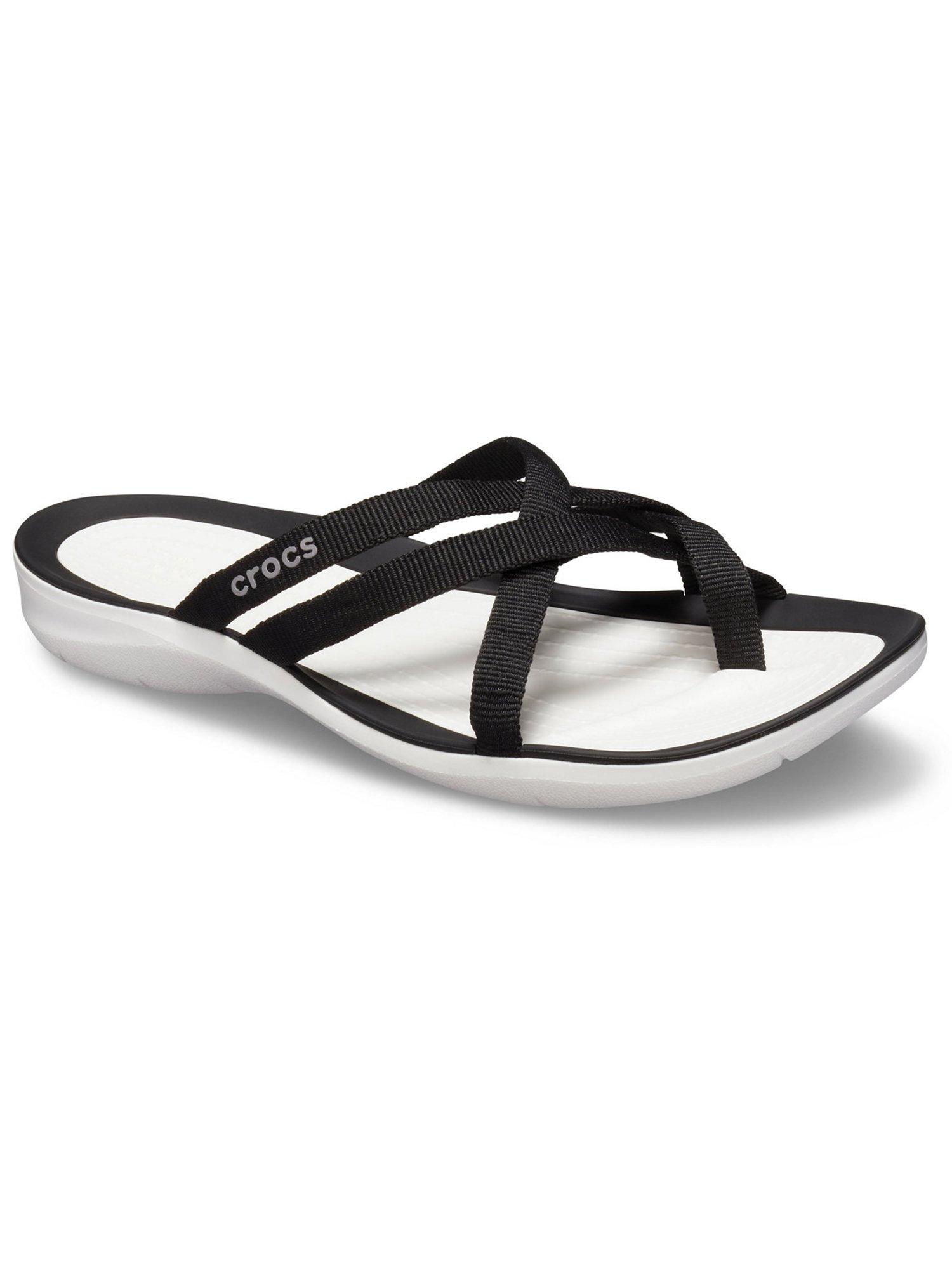 crocs black solid open toe flats