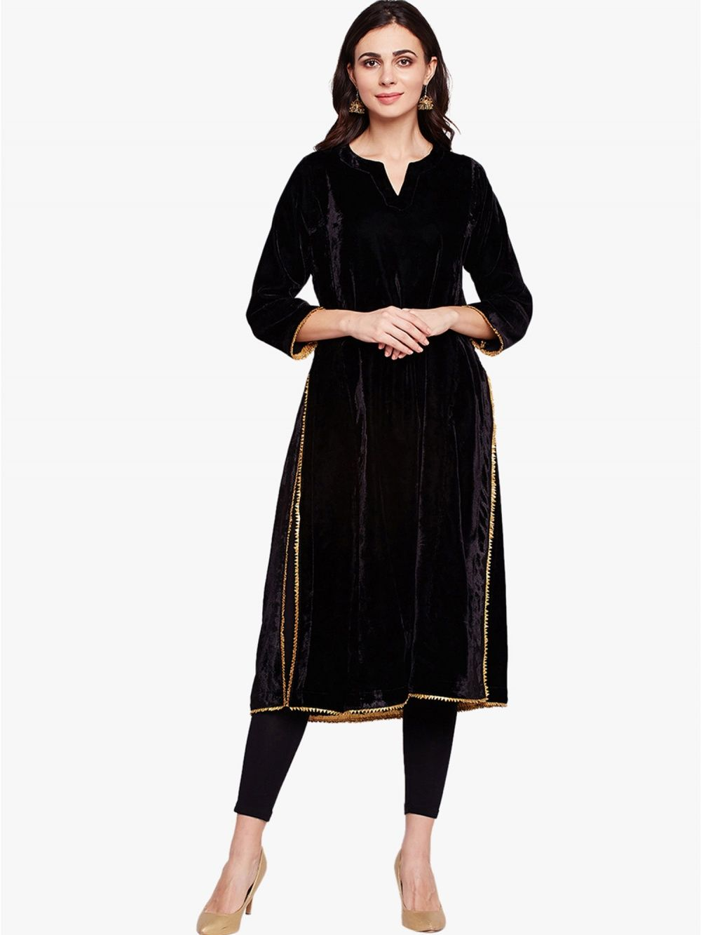 e8a2456c92fcad Fabnest Kurtis Kurtas and Tunics   Buy Fabnest Velvet Straight Long ...