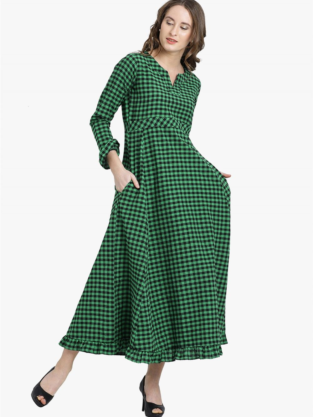 af76e29272 Fabnest Dresses   Buy Fabnest Green And Black Checked Maxi Dress ...