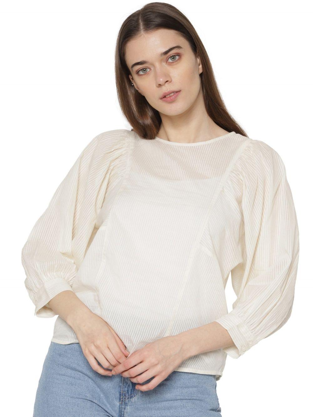extrem einzigartig heißer verkauf billig Bestpreis ONLY Off White Striped Cuff Sleeves Top