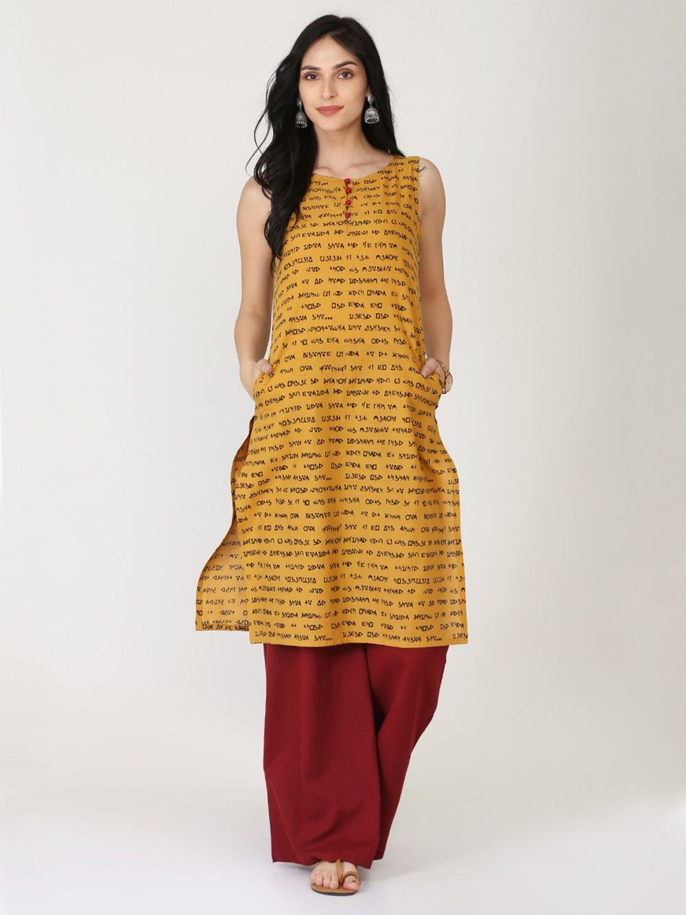 Abhishti The Speech Sleeveless Mustard Kurta