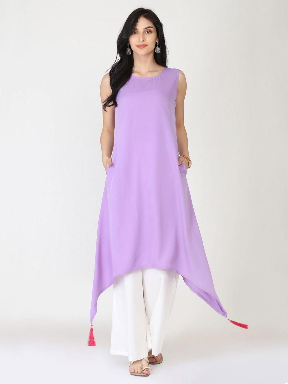 Abhishti Flared Tassled A Line Lavender Kurta