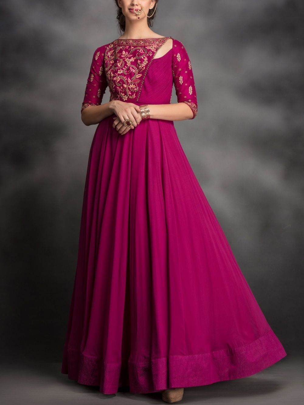2ea19156778 Avdi Kurtis Kurtas and Tunics : Buy Avdi Magenta Purple Embroidered ...
