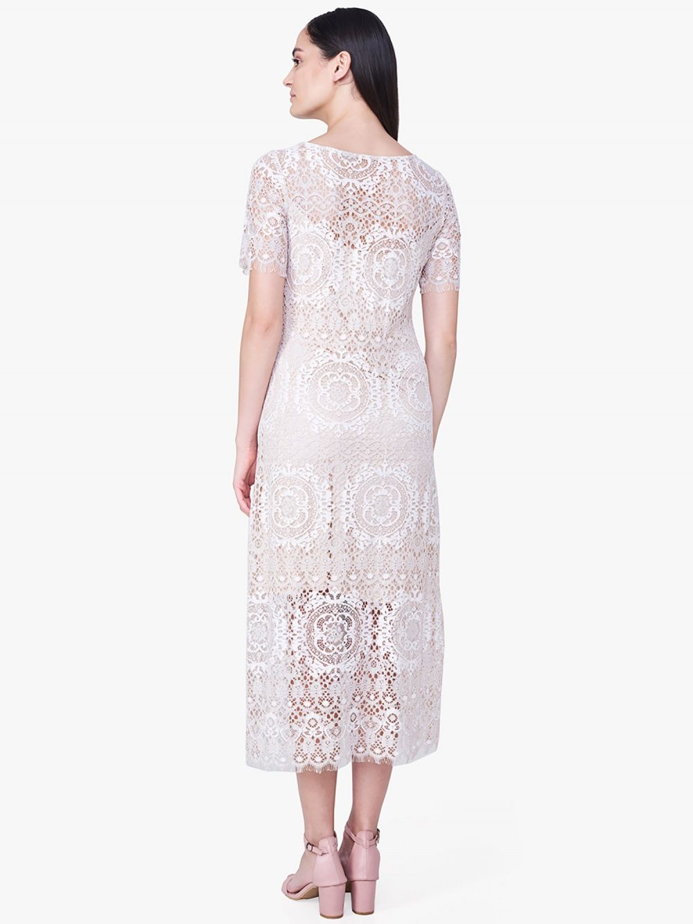 0399998723e44 AND Beige Lace Midi Dress