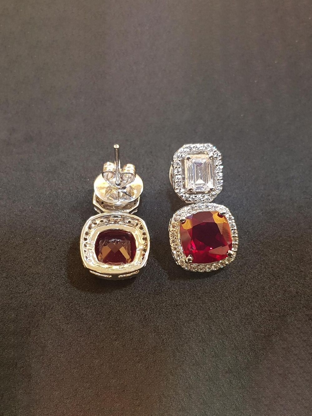 dd6f2776e Bejeweled Earrings : Buy Rhodium Finish Emerald Cut With Red Cushion ...