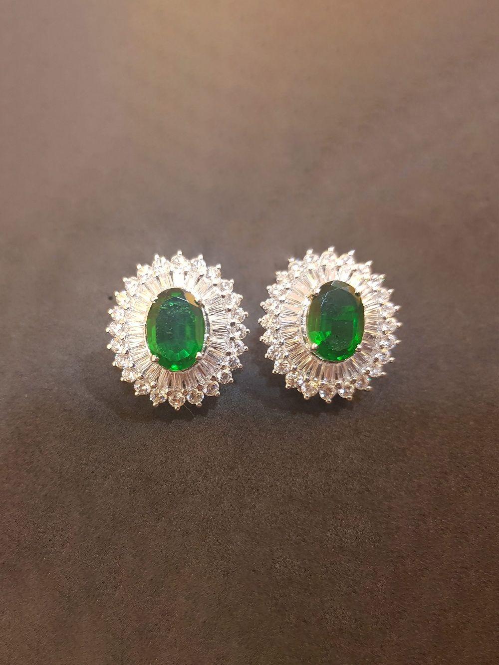 665752eeb Bejeweled Earrings : Buy Rhodium Finishe Green Stone Tops Online ...