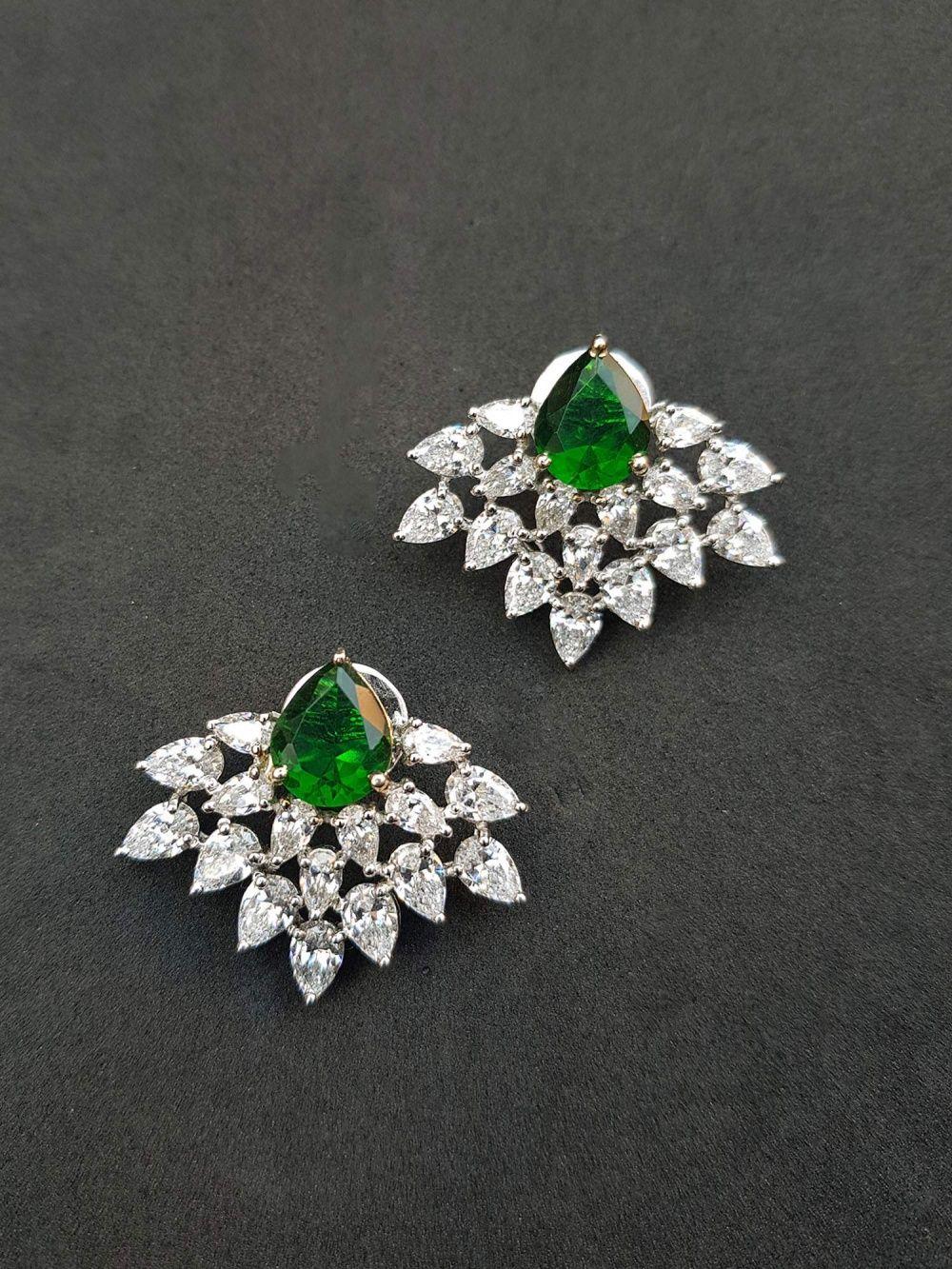 45da96d15 Bejeweled Earrings : Buy Rhodium Finish Pear Cut Earring Online ...