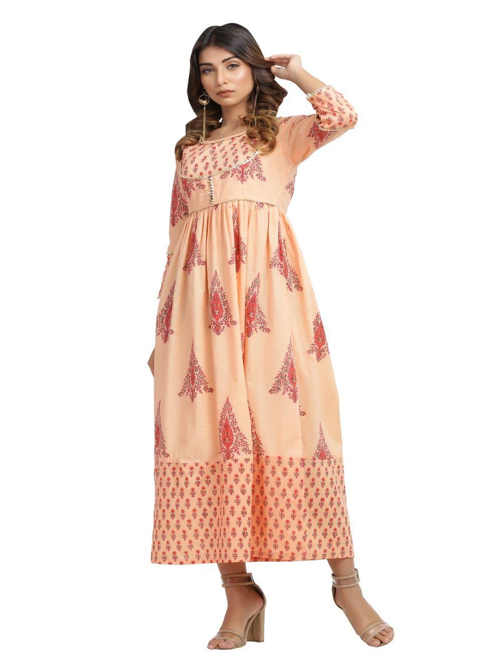 2d1f0ec736 Blue Lotus Dresses : Buy Blue Lotus Peach Ankle Length Maxi Dress ...