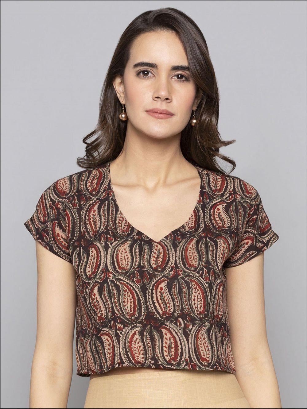 ada7eb230a04d5 Desi Weavess Shirts Tops and Crop Tops : Buy Desi Weavess Ikat Crop ...