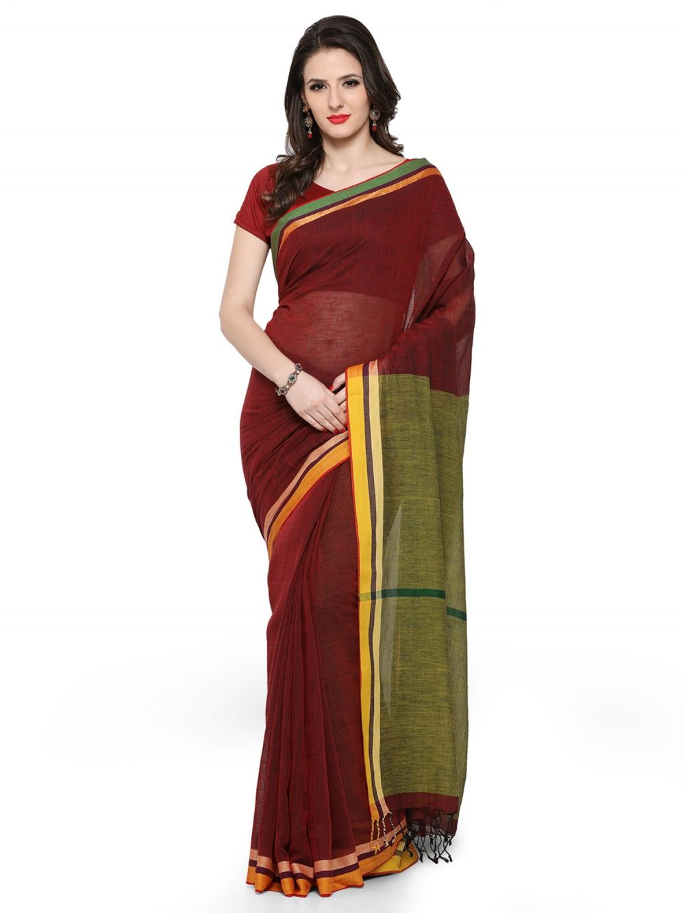 3af899108c Desi Weavess Khadi Cotton Color Blocked Woven Saree With A Cotton Silk Par