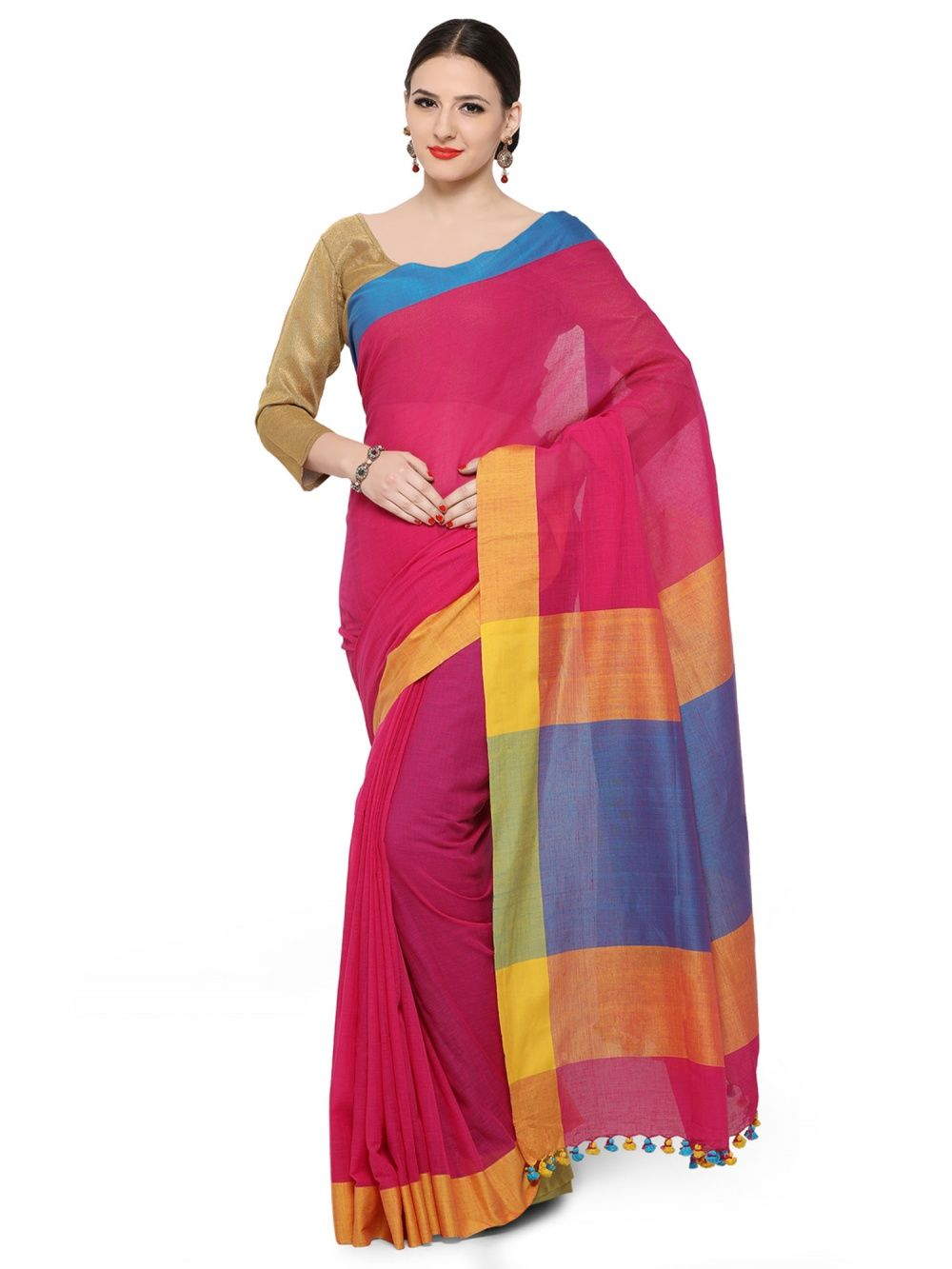 8ab90d02b4 Desi Weavess Sarees : Buy Desi Weavess Linen And Khadi Combo Color ...