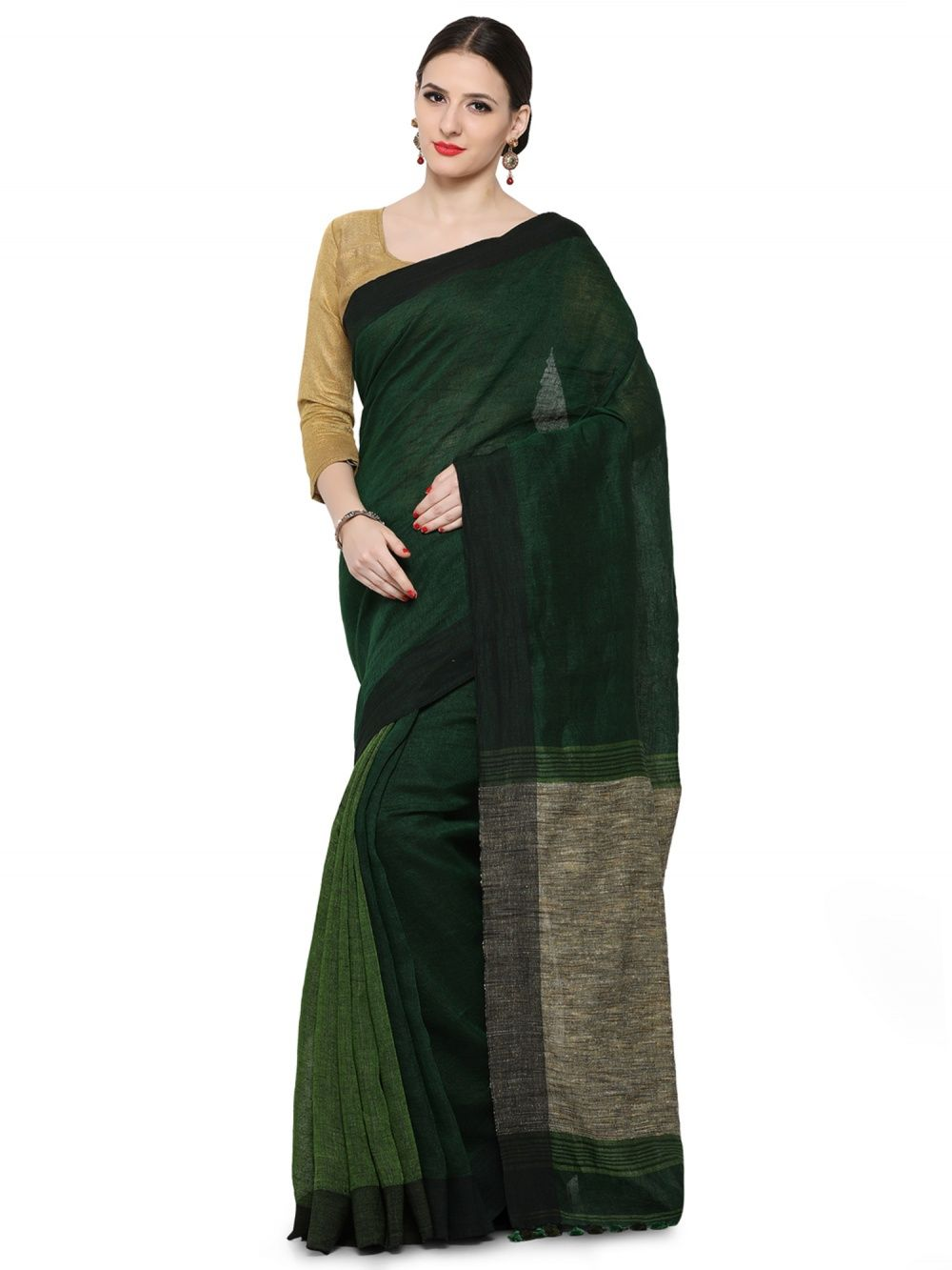 8a9e1dd880 Desi Weavess Sarees : Buy Desi Weavess Linen Linen 60'S Color ...