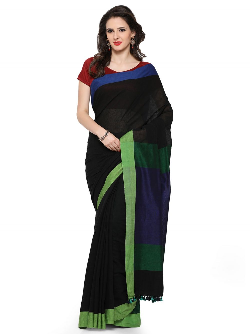 d5e64321e9 Desi Weavess Elegant Black Saree With Purple Lime Linen Khadi Combo