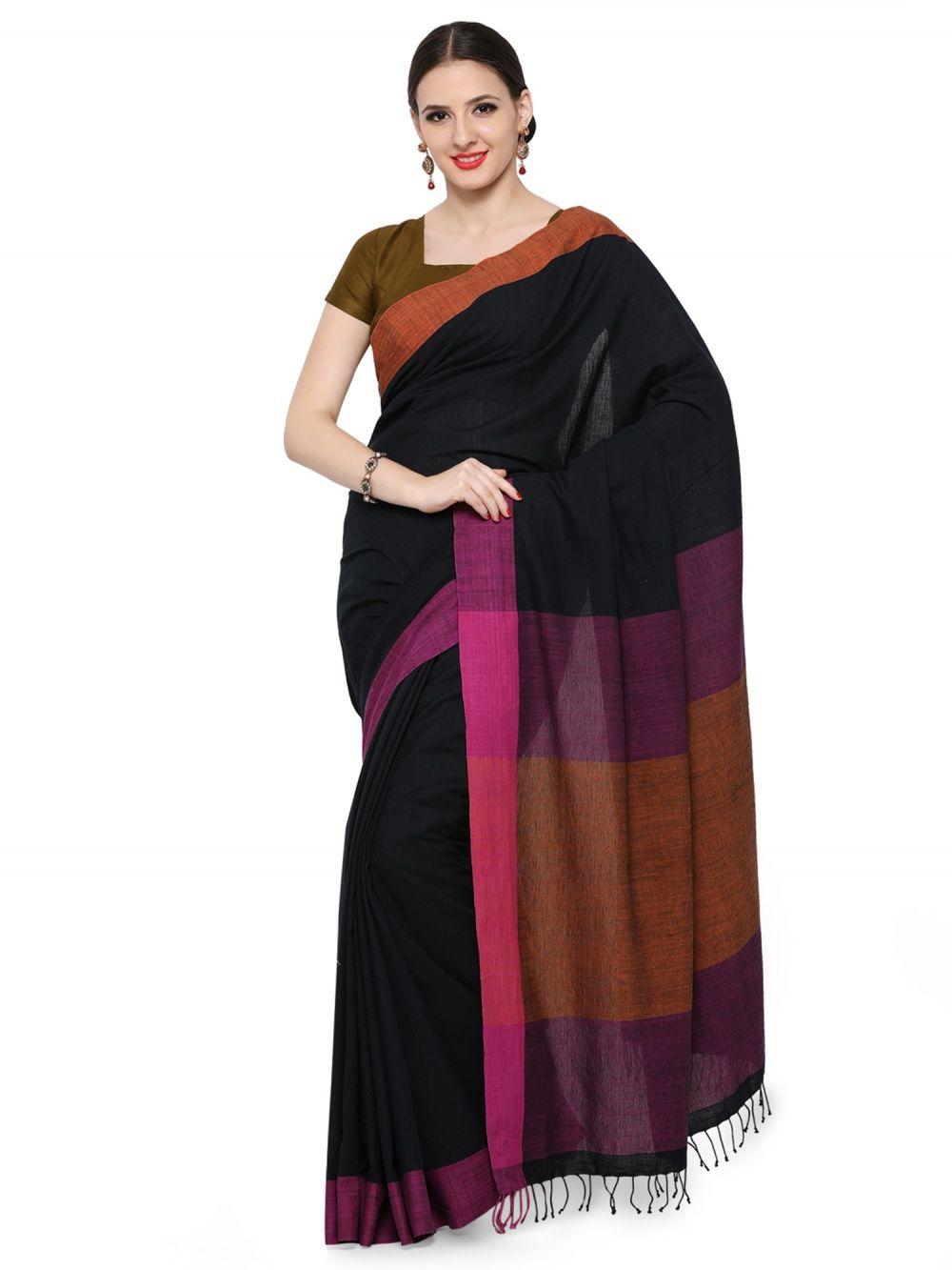 b83a76c209 Desi Weavess Black Mustard And Purple Color Blocked Handloom Khadi Cotton  Saree