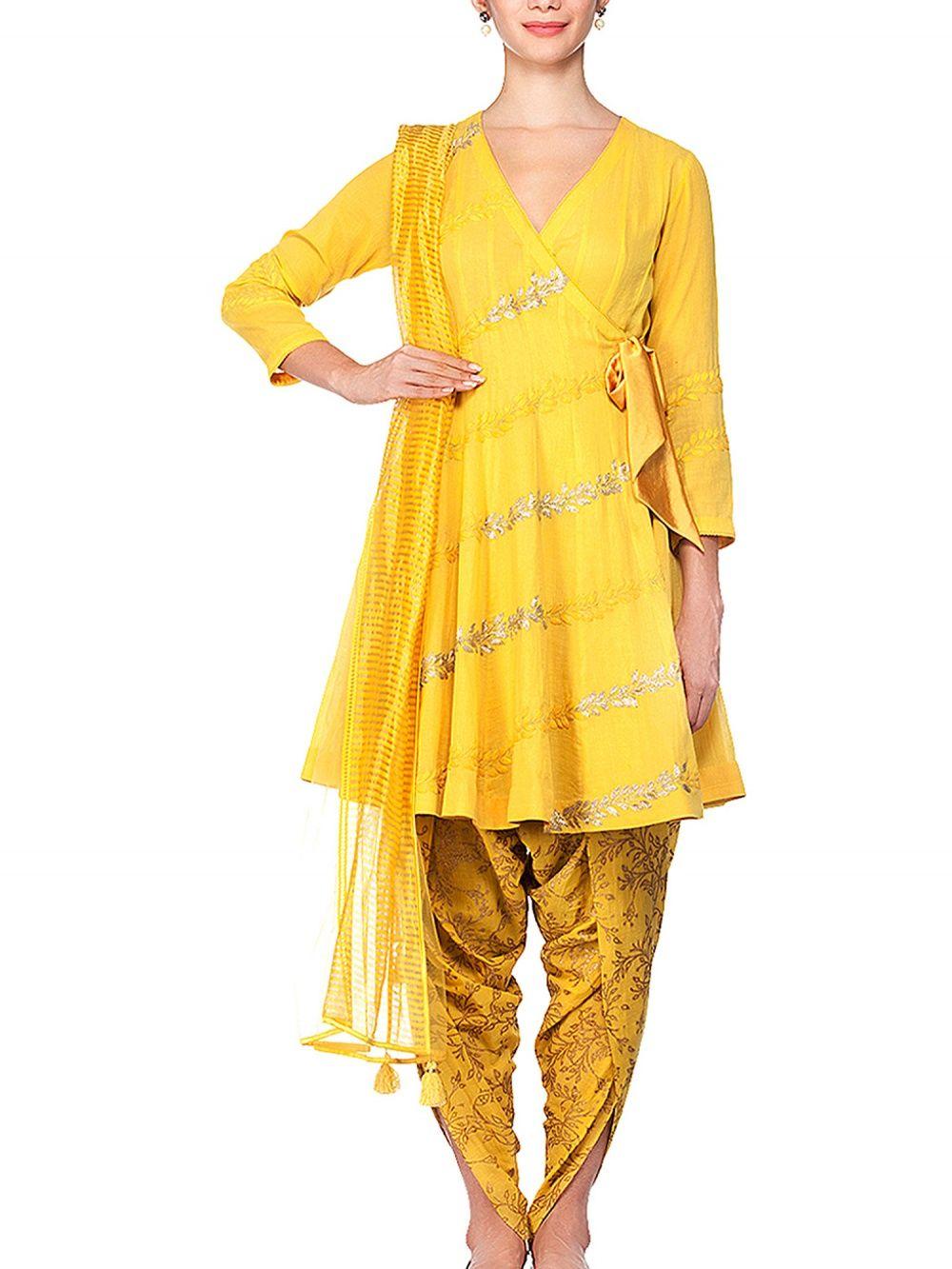 f75f795af0e4 Devnaagri Yellow Kurta With Dhoti Pants Set