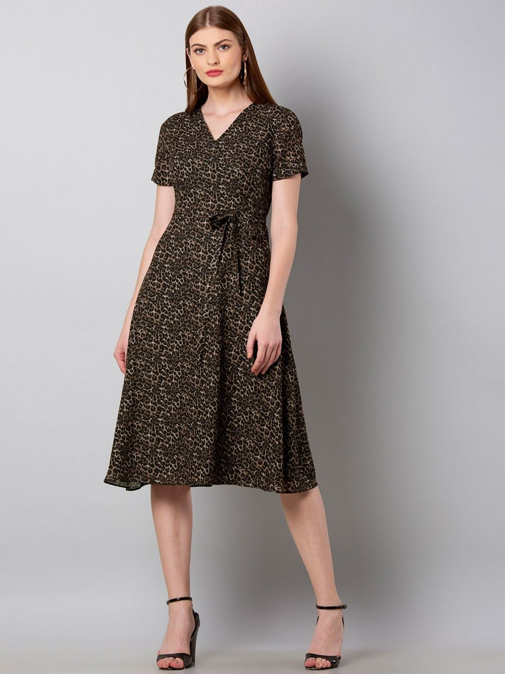 70abb3bed9f Faballey Dresses   Buy Faballey Brown Leopard Wrap Midi Dress Online ...
