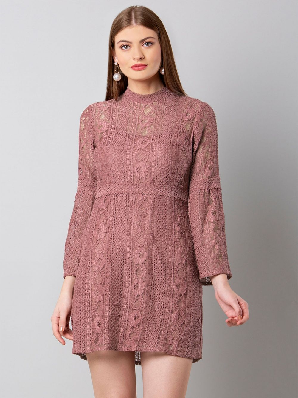 2c93f8cb70b Faballey Dresses   Buy Faballey Dusty Pink Bell Sleeved Lace Dress ...