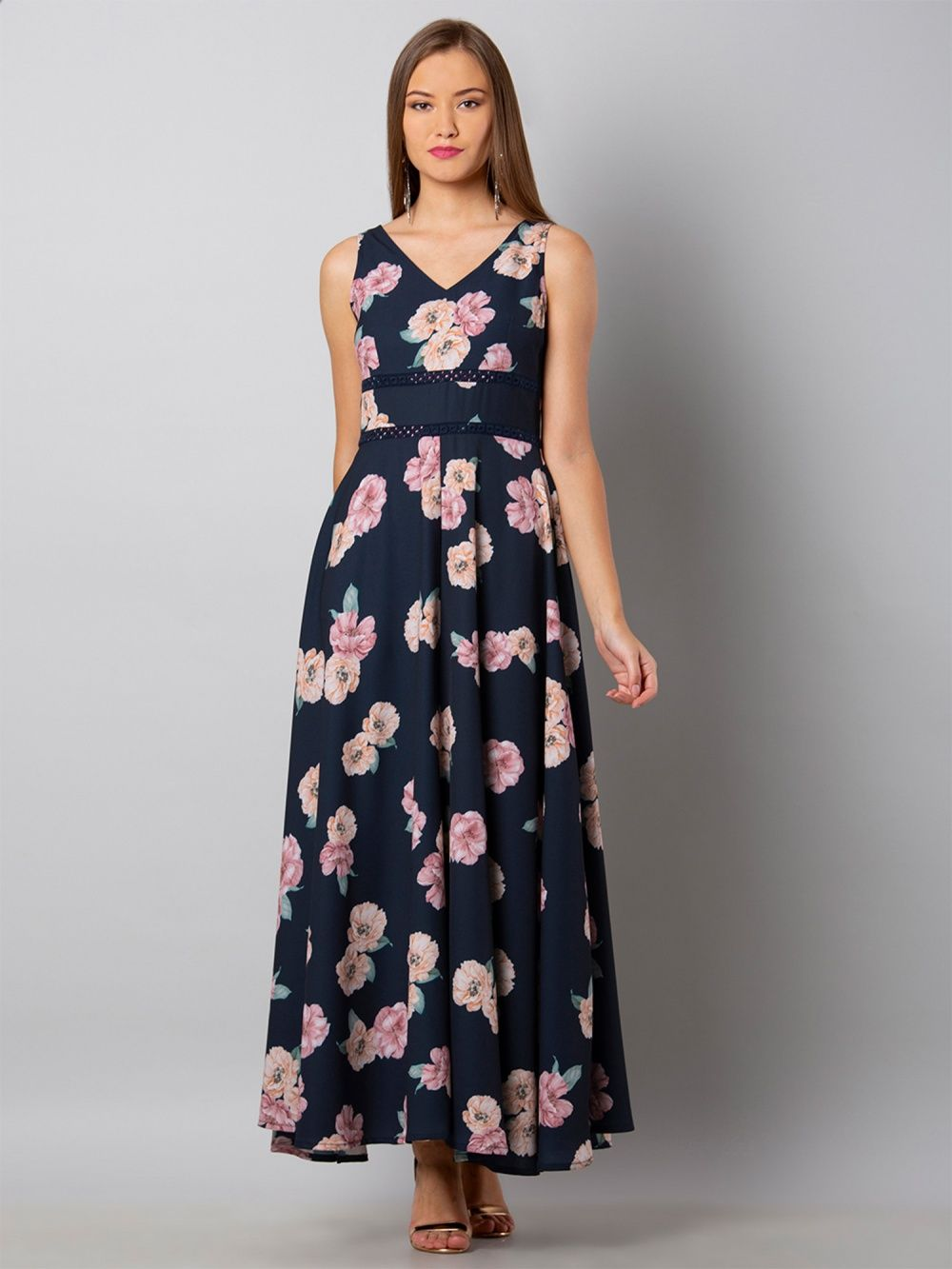 20605f9ffecd4d Faballey Dresses : Buy Faballey Navy Blue Floral Lace Insert Maxi ...