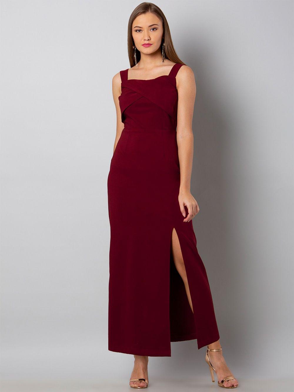 3960c830a3101b Faballey Dresses : Buy Faballey Maroon Overlap Yoke Maxi Dress ...