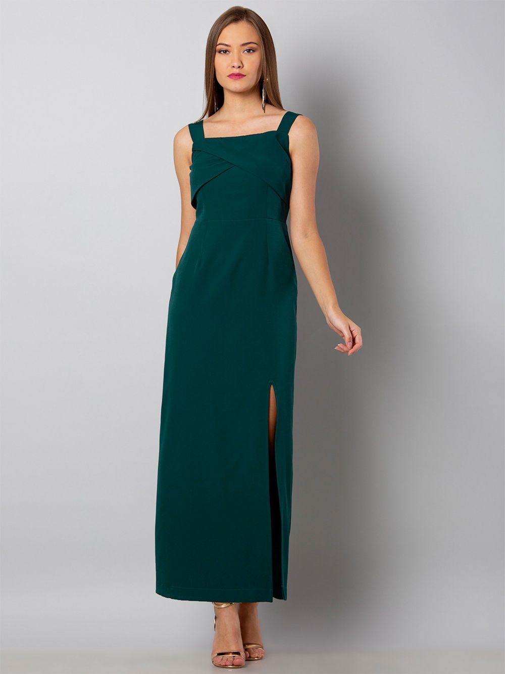 8a1a419154b Faballey Dresses   Buy Faballey Green Overlap Yoke Maxi Dress Online ...