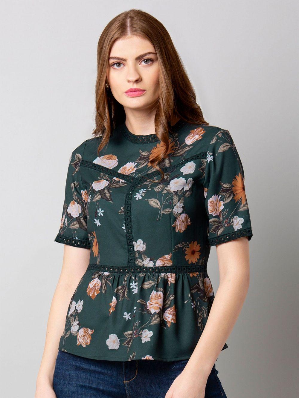 f753317958f Faballey Green Floral Ruffled Waist Top