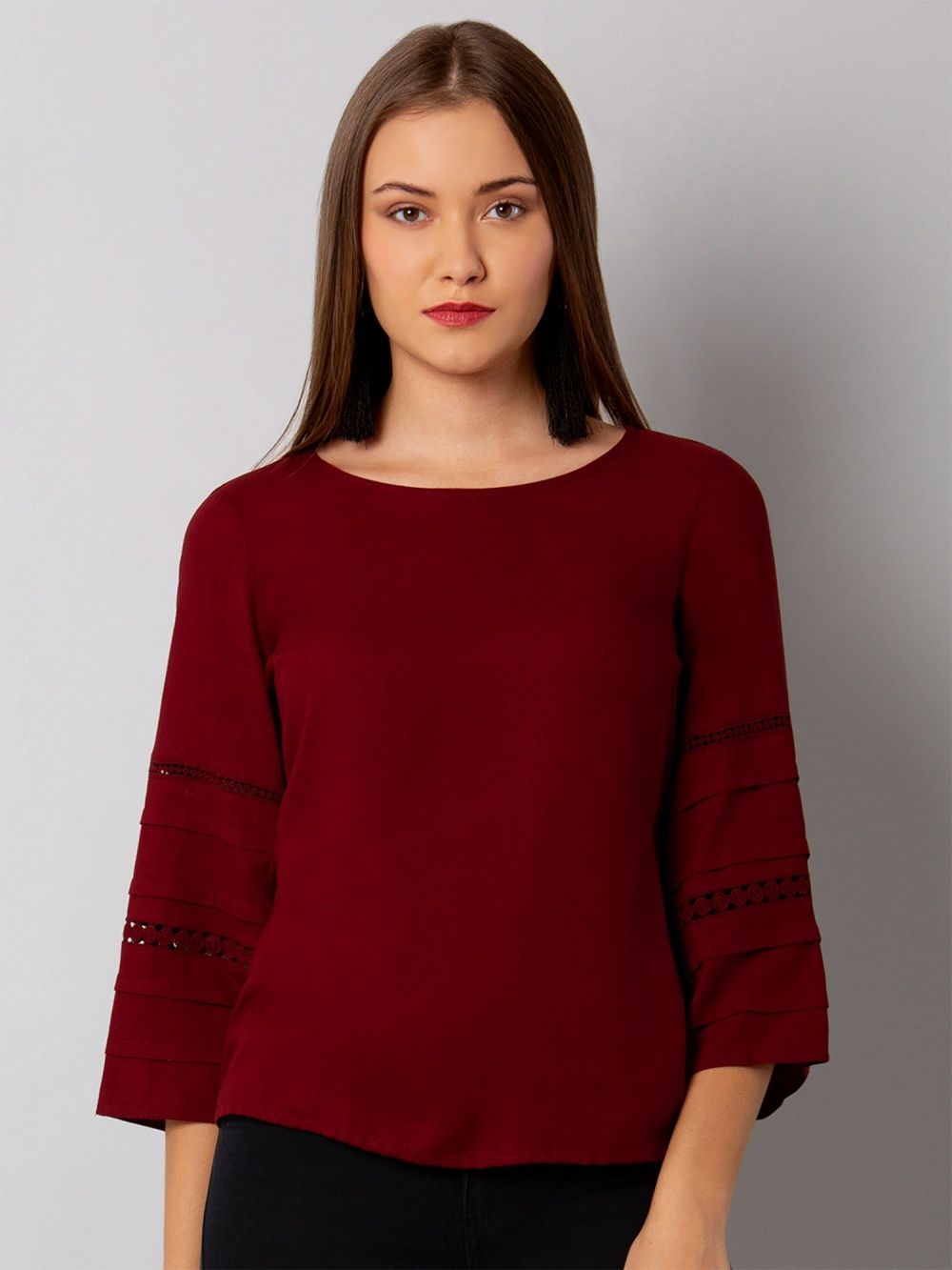 cff04216160 Faballey Shirts Tops and Crop Tops   Buy Faballey Maroon Lace Insert ...