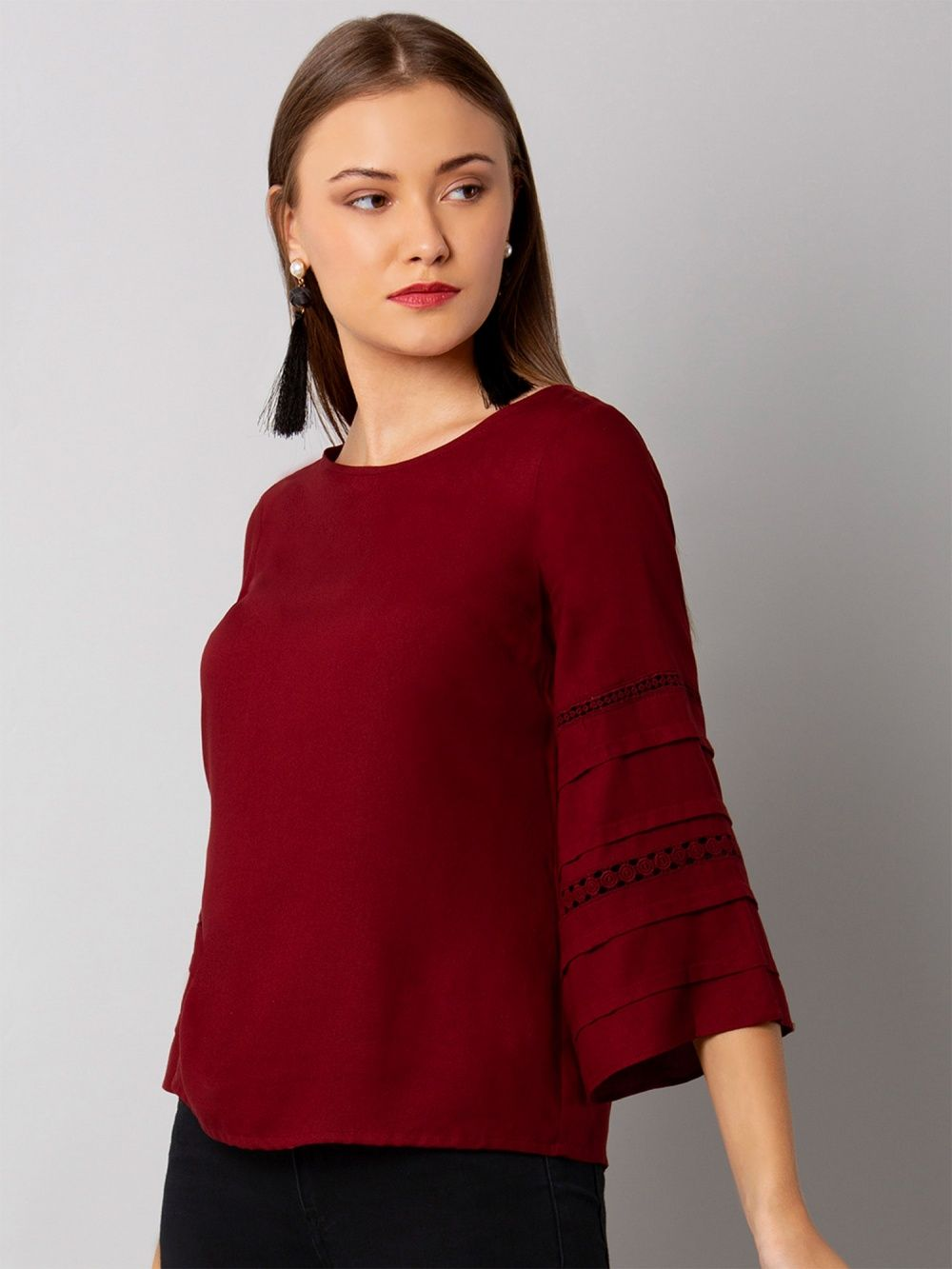 757e1cbecd6 Faballey Maroon Lace Insert Flared Sleeve Top