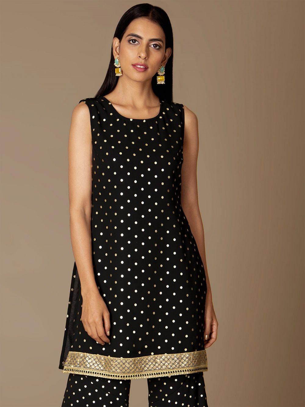 90784746e68 Indya Kurtis Kurtas and Tunics : Buy Indya Black Gold Foil Short ...