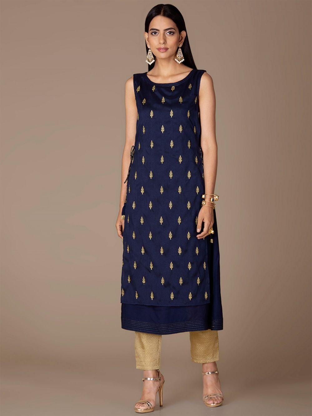 d99ef117a52 Indya Kurtis Kurtas and Tunics : Buy Indya Navy Blue Embroidered ...