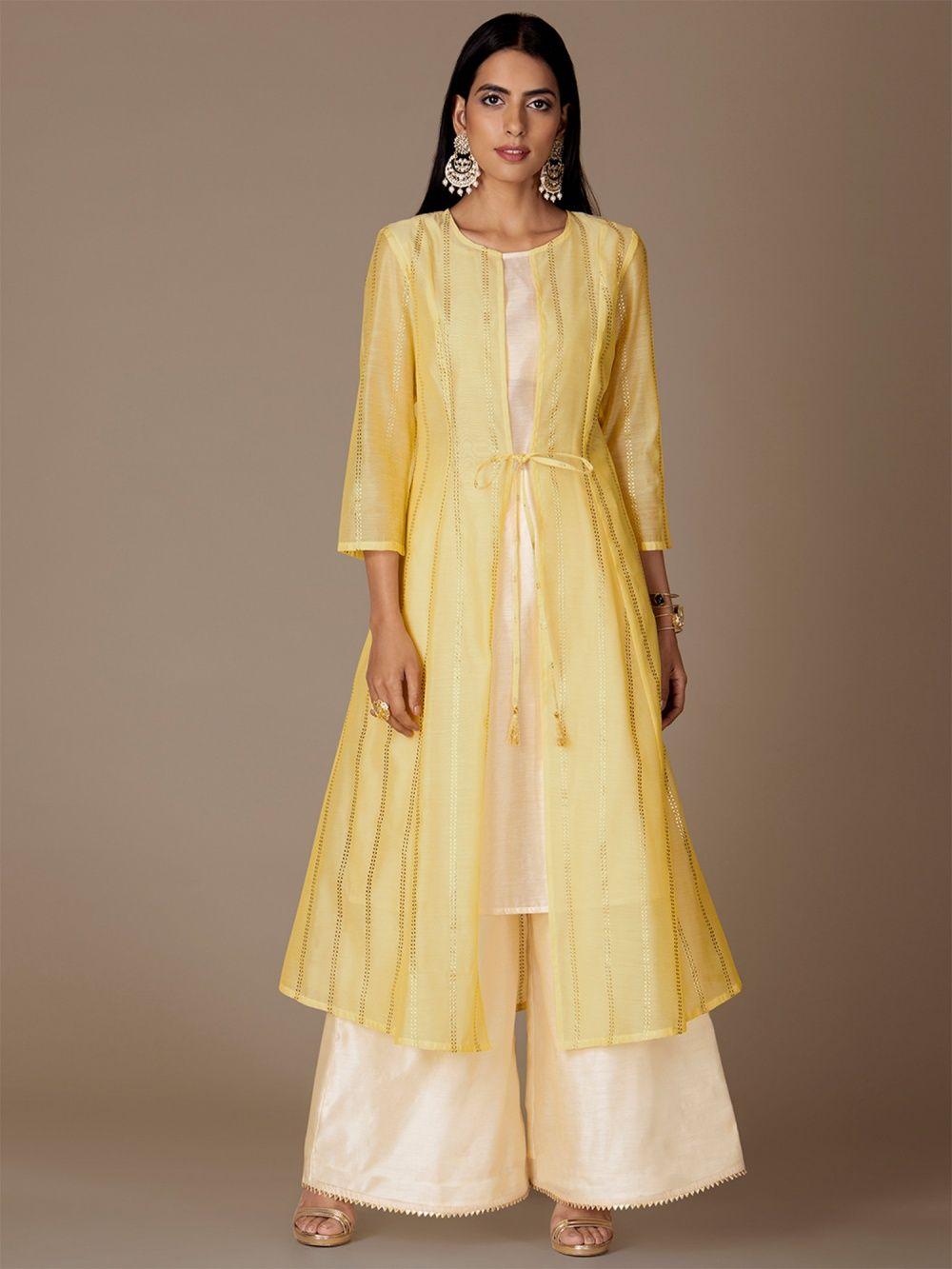 f5a35c43031 Indya Kurtis Kurtas and Tunics : Buy Indya Yellow Foil Chanderi ...