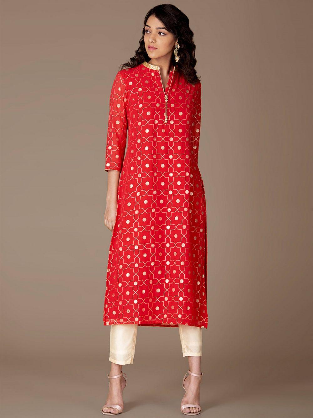 d525d73826f Indya Kurtis Kurtas and Tunics : Buy Indya Red Embellished Collar ...