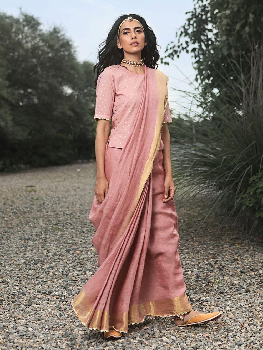 26e5e6cde0a862 Khara Kapas Sarees : Buy Khara Kapas Pink Hoor Saree With Crop Top ...
