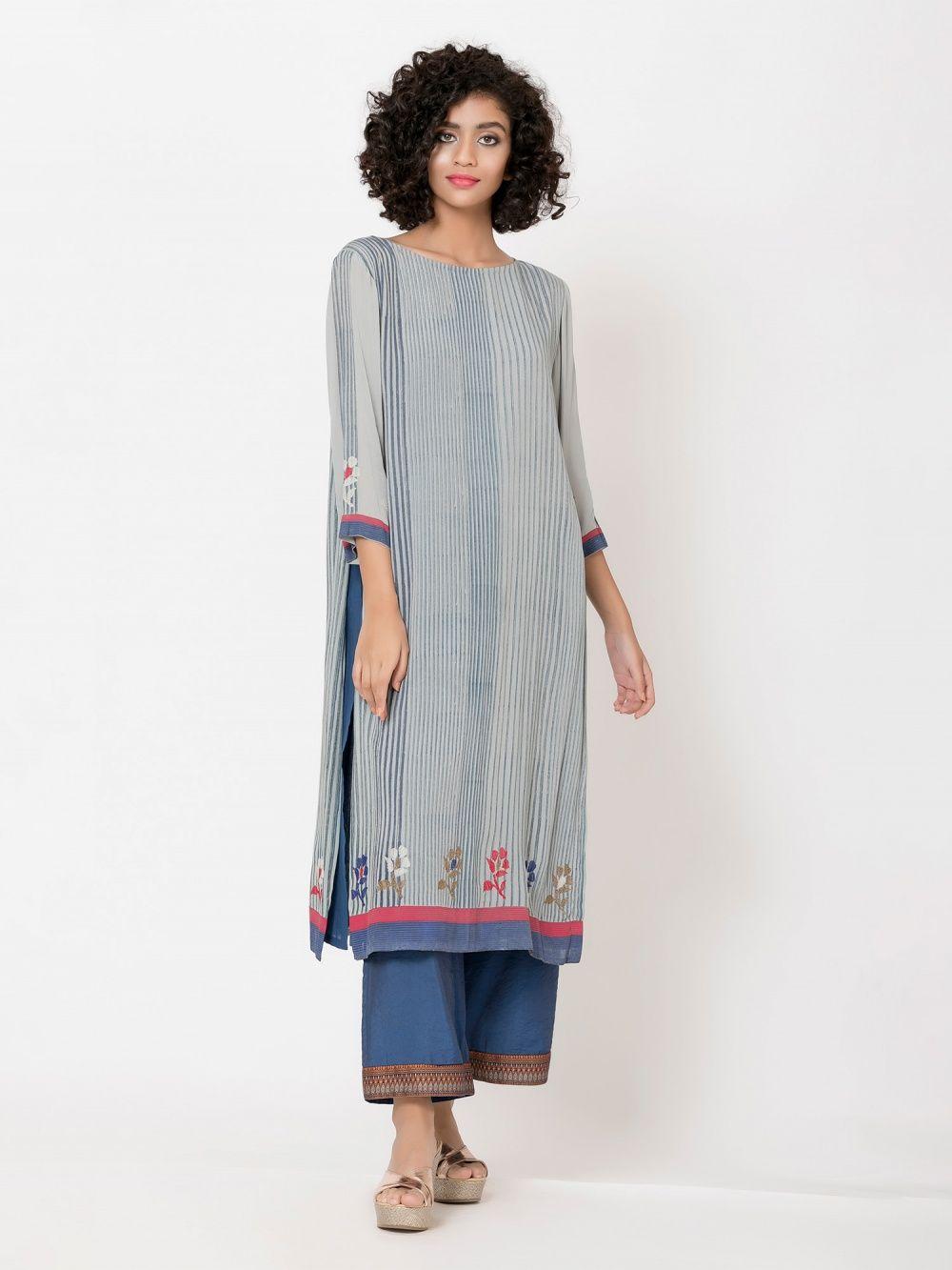Krishna Mehta Grey Blue Embroided Tunic