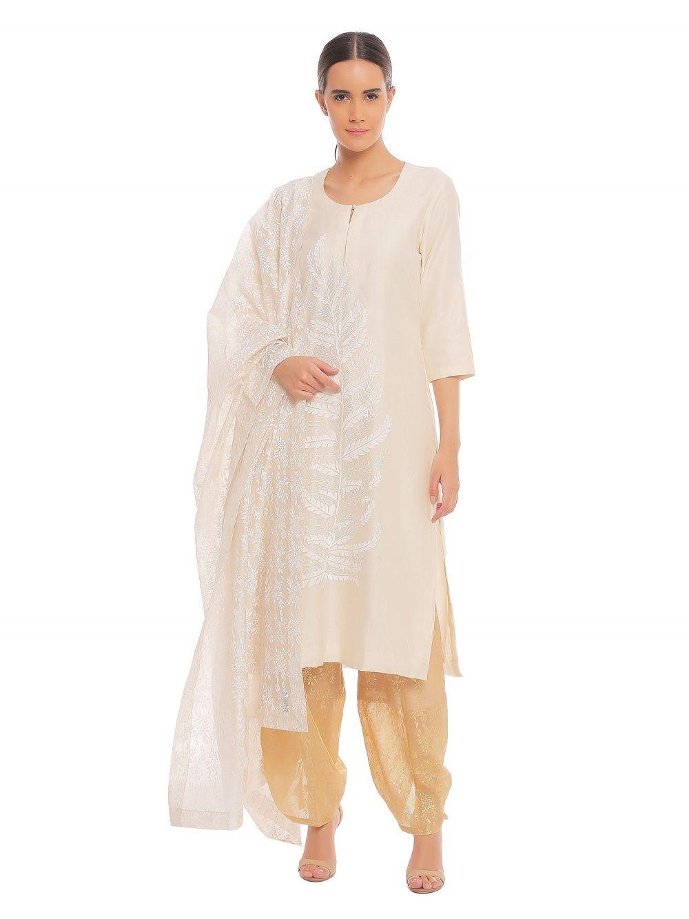 5a86906263 Masaba Salwar Suits and Sets : Buy Masaba Pearl Leaf Kurta With ...