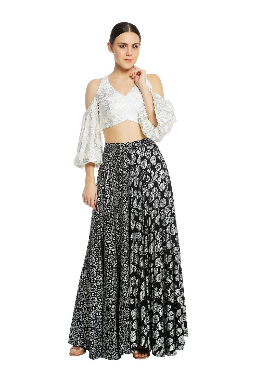 6042d5f6bb397 MASABA Ivory Tropical Banana Cold-Shoulder Blouse with Black Pineapple and  Coin Lehenga Set