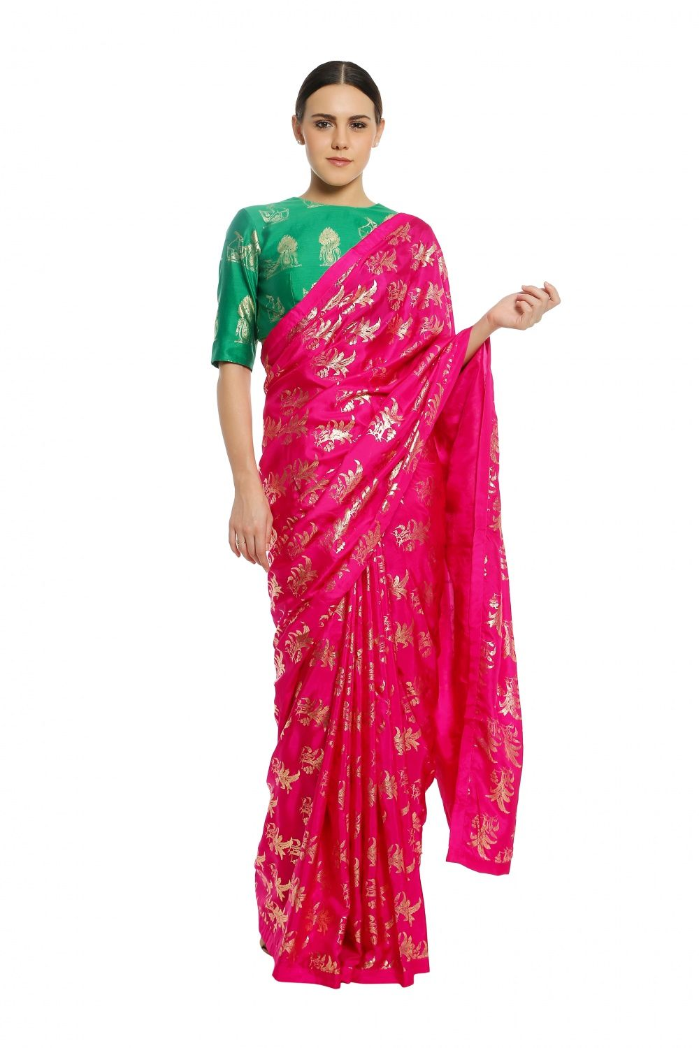 4d9e08ad60d1 Masaba Fuchsia Tropical Banana Saree With Green White Rabbit Blouse Piece