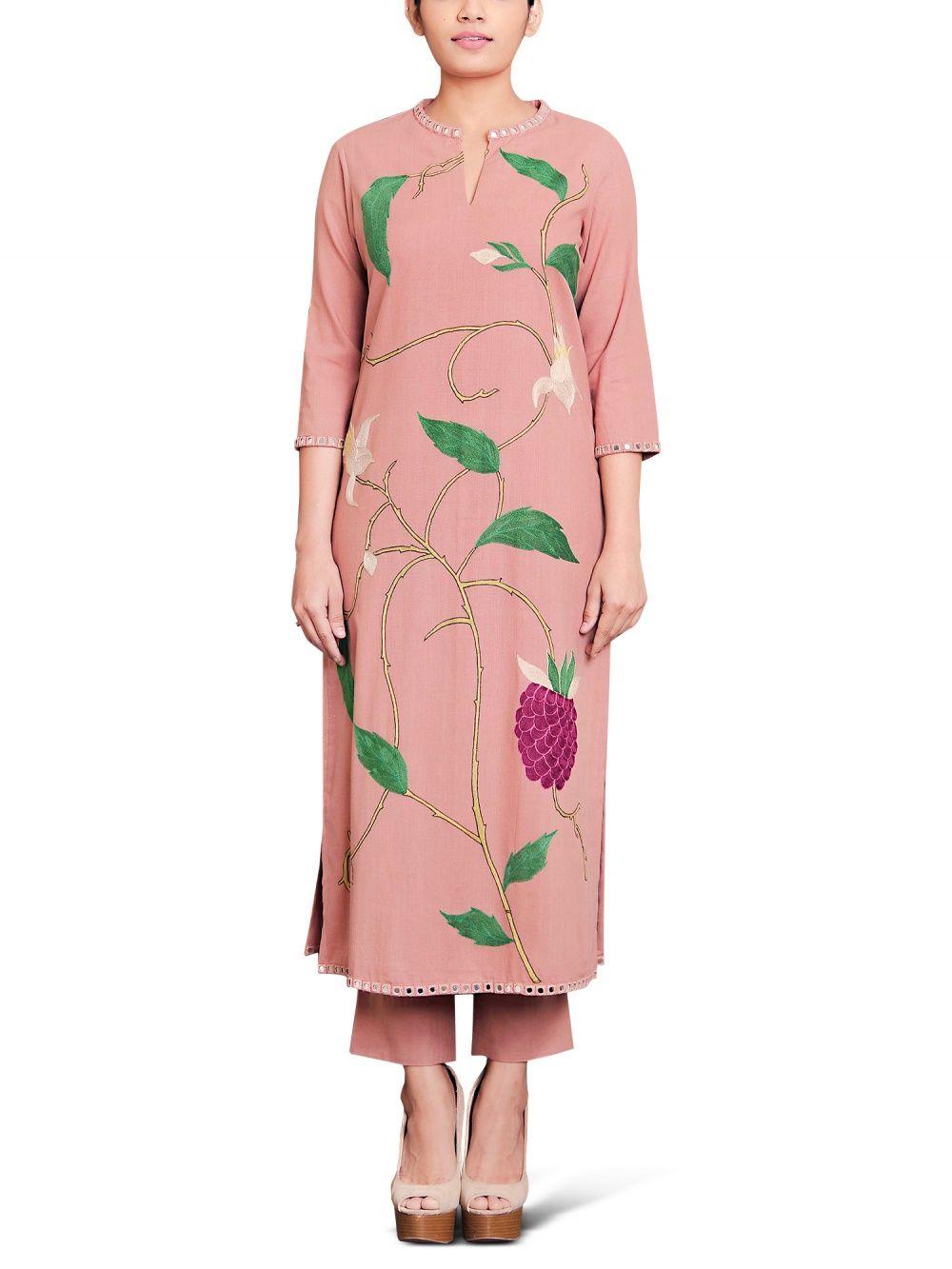 15c805181d857 Purvi Doshi Dusty Pink Khadi Hand Aari Embroidered Kurta With Mirror  Detailing