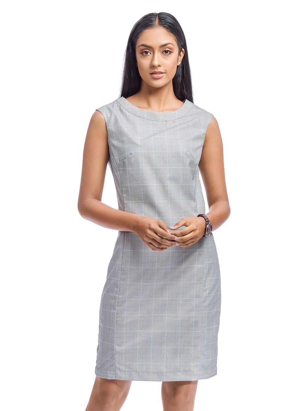 a29aa312 Ombre Lane Dresses : Buy Ombre Lane Women's Grey Checks Sleeveless ...