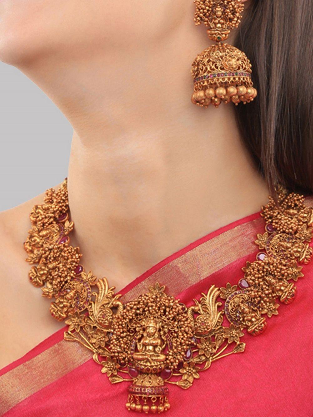 Paisley Pop Lakshmi Temple Necklace Set With Jhumka