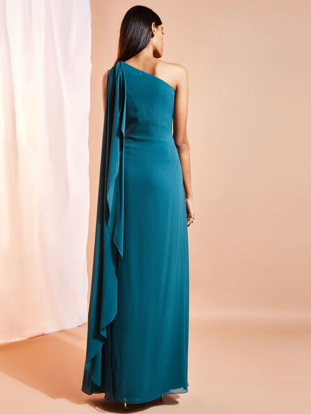 Ritika Gowns : Buy Ritika Teal One Shoulder Gown With Ring Detail ...