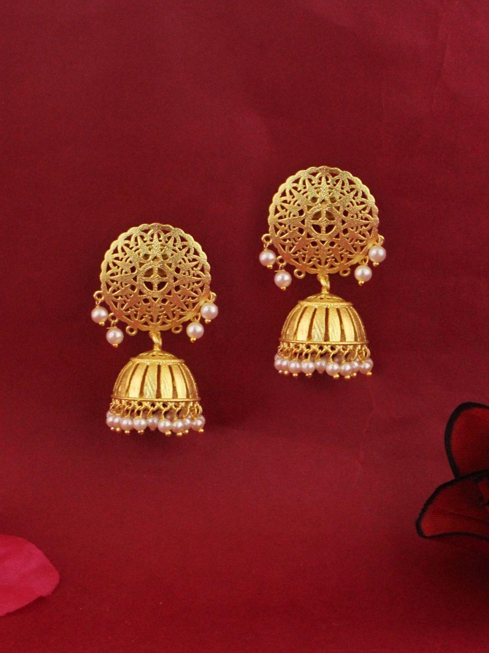 Red Bead and Leaf Burn Gold Tone Chandelier Drop Earrings Costume Jewellery