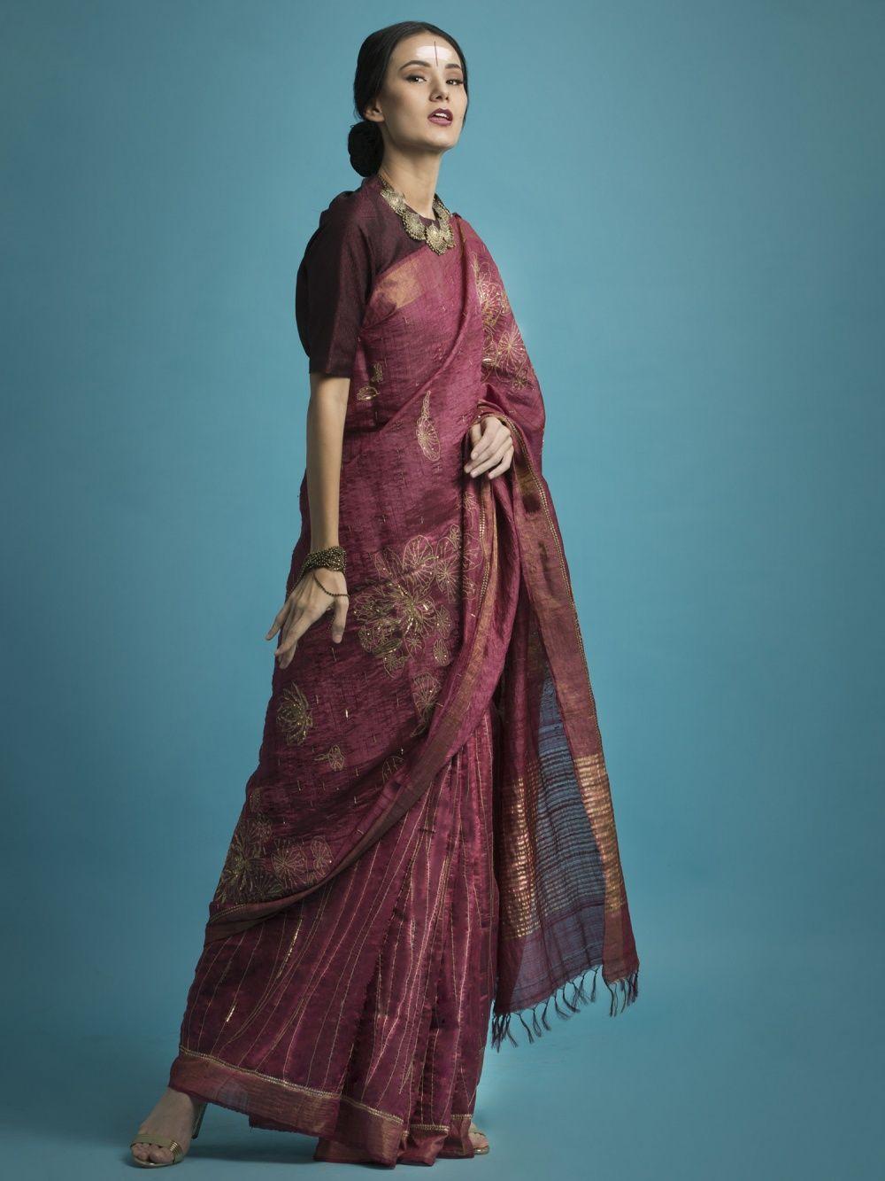 f7d4c5dded8c0 SAKSHAM   NEHARICKA Saksham   Neharicka Pink Embroidered Silk Saree