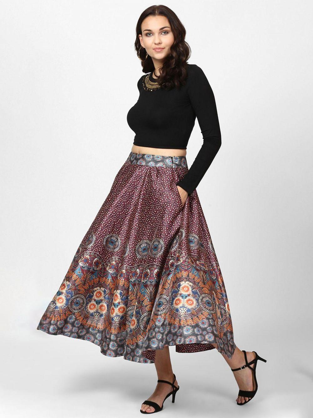 5b4eeb991e Label Ritu Kumar Skirts : Buy Label Ritu Kumar Grey & Burgundy ...