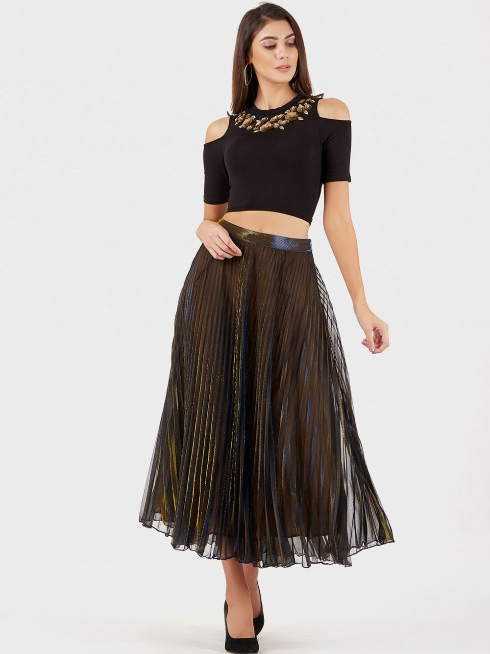 52e59858967d Label Ritu Kumar Skirts   Buy Label Ritu Kumar Metallic Gold Pleated ...