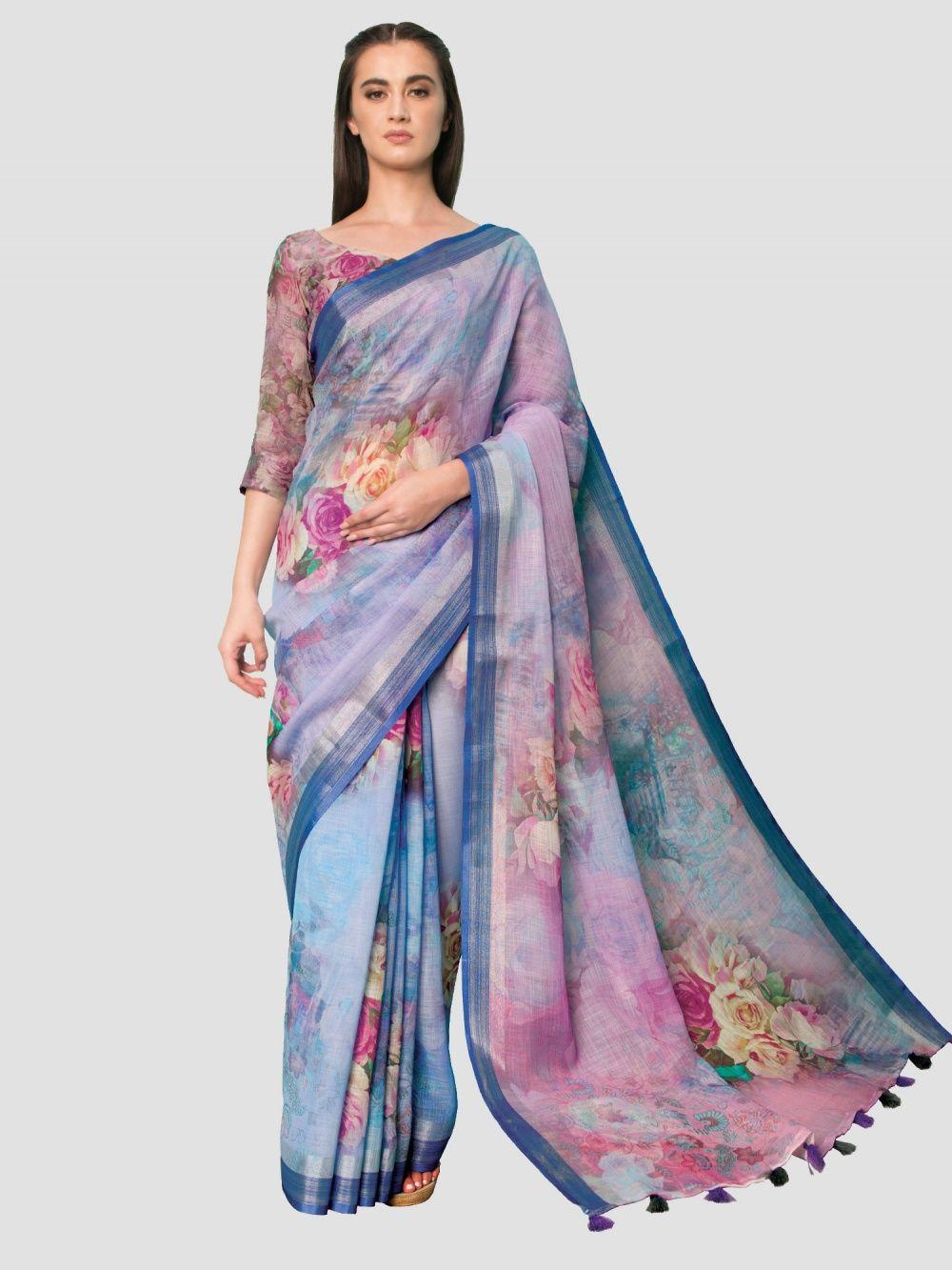 1aabea536b SP Aura Sarees : Buy SP Aura Neisha Iris Purple Linen Printed Saree ...