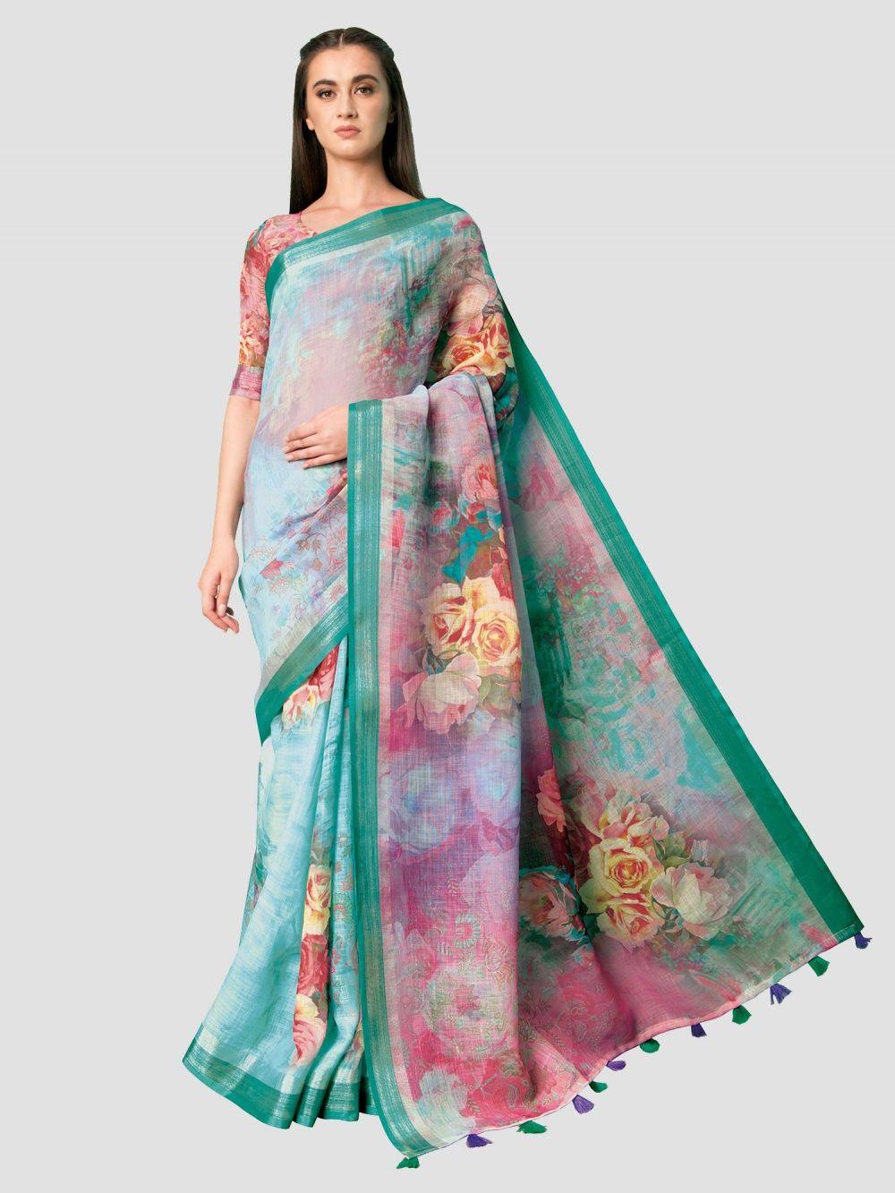 209932adfebb SP Aura Sarees   Buy SP Aura Neisha Shamrock Green Linen Printed ...
