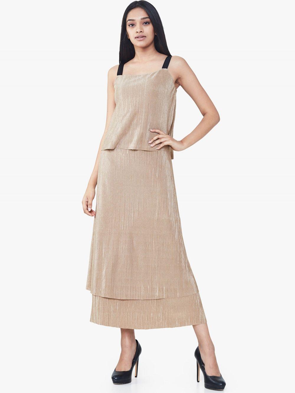 And Metallic Knit Tiered Maxi Dress