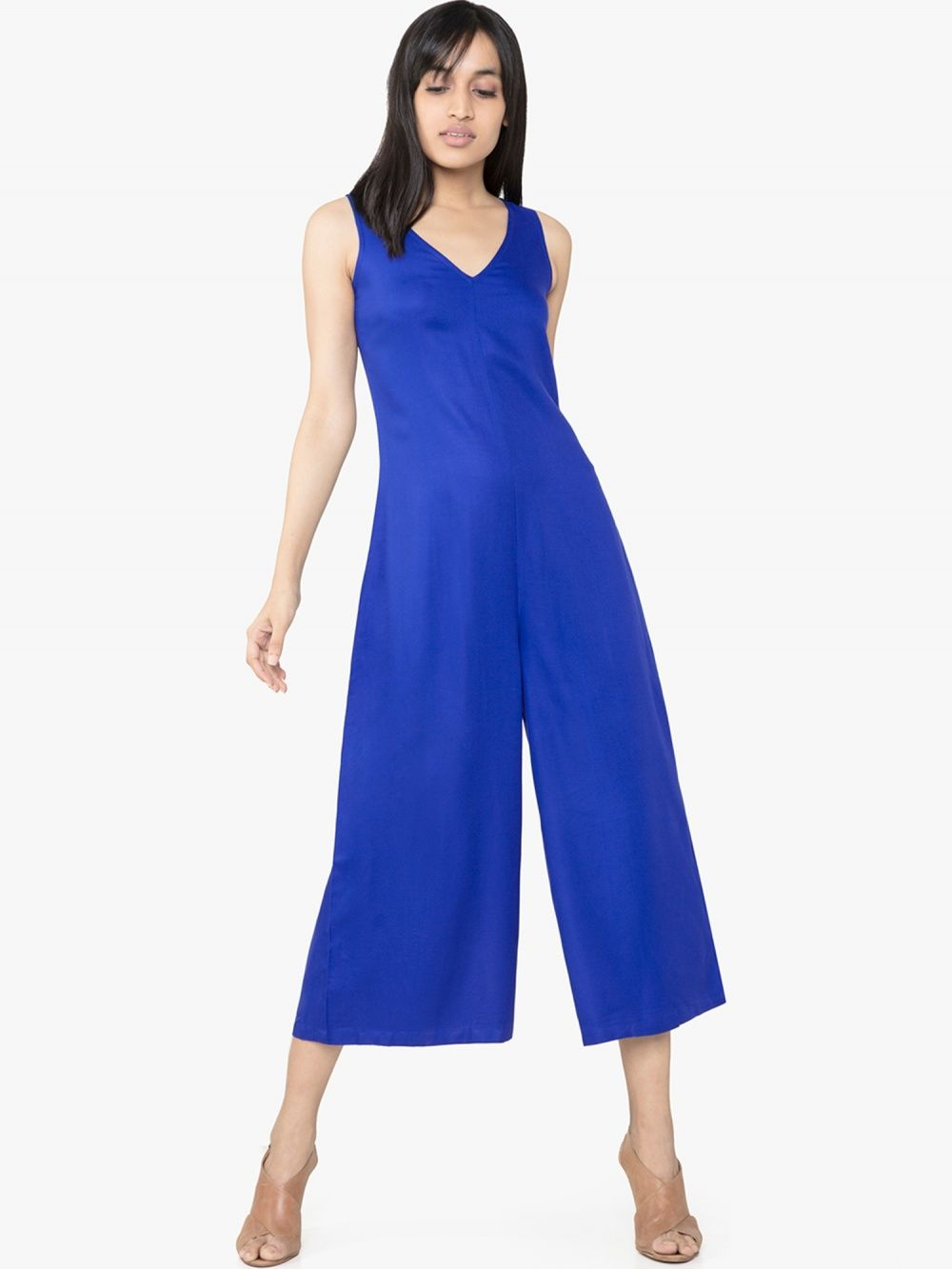fcc07ea99ce AND Jump-Suits   Buy AND Blue V-Neck Jumpsuit Online