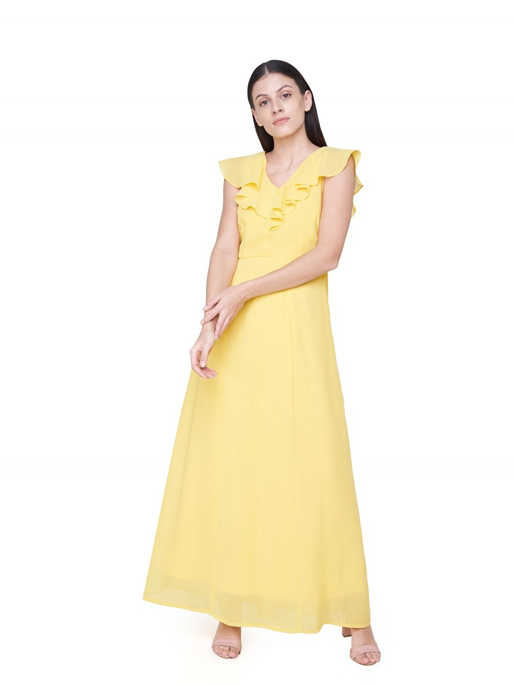 f72bb4c3933 AND Gowns   Buy AND Yellow Solid Gown Online